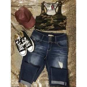 NEW! (Never Worn) Army crop top, Jeans & Hat.